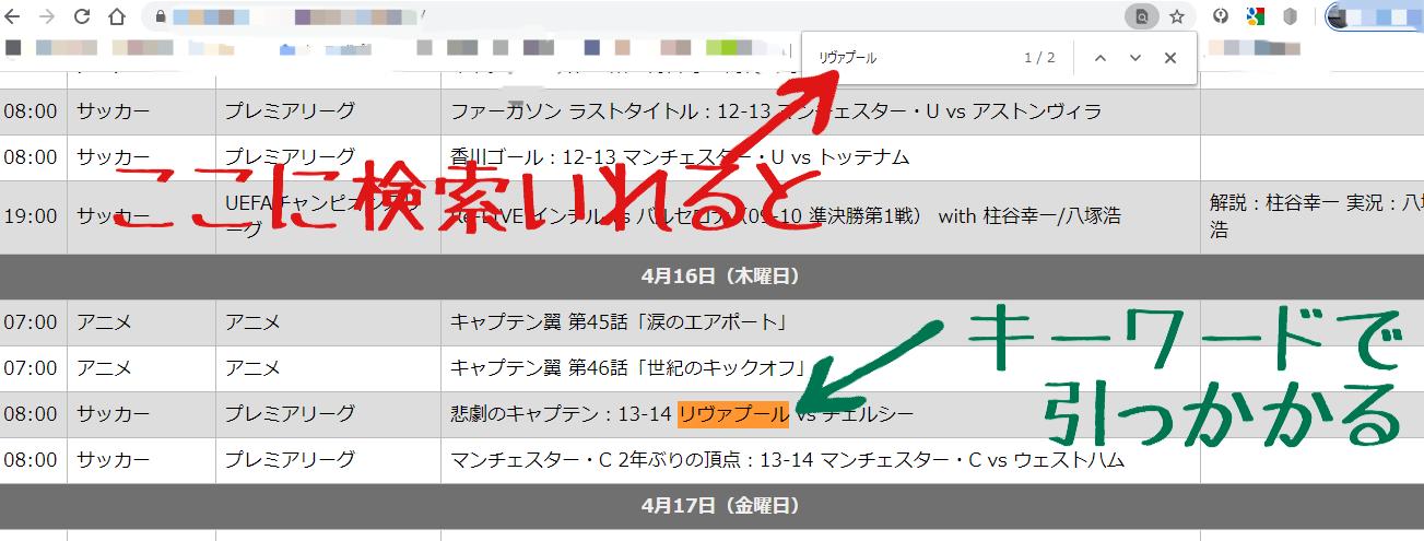 ステップ③:検索窓で検索した結果の説明画像
