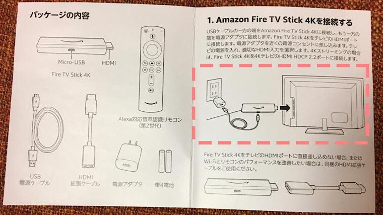 ステップ①:アマゾンファイアースティックの説明書の画像
